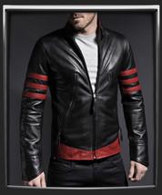 Mens Black and Red  Handmade Real Bespoke Cowhide  Black Genuine Leather Jacket - $118.79+