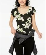 PLANET GOLD Junior's Black Floral Printed Short Sleeve V-Neck T-Shirt NWT Large - $10.55