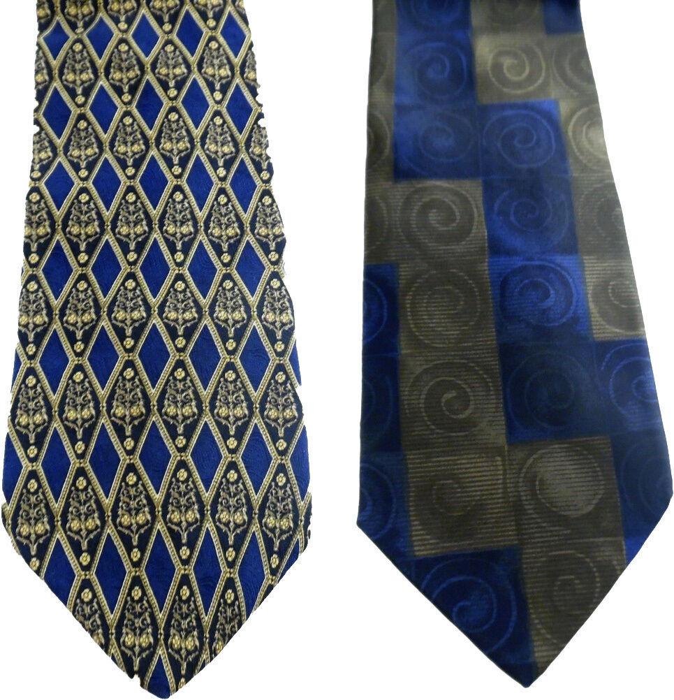 Geoffrey Beene Necktie Tie Silk Lot of 2 Black Blue Brown Geometric Swirls