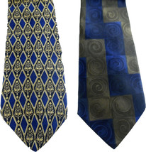 Geoffrey Beene Necktie Tie Silk Lot of 2 Black Blue Brown Geometric Swirls - $4.94