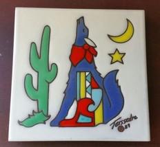 Cleo Teissedre Ululante Coyote 1989 Southwest Piastrella Treppiede - $29.68