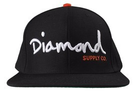 Diamond Supply Co OG Script Logo Black Orange Snapback Hat Baseball Cap - £17.35 GBP