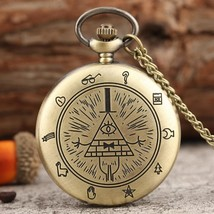Eye of Providence Weird Town Triangle Devil Quartz Pocket Watch Gravit - $7.85
