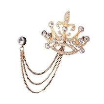 Alloy Material Gold Plated Brooch with Rhinestone and Tassels Decoration