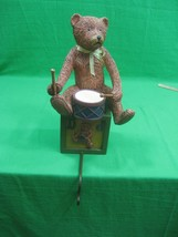Teddy Bear Stocking, Coat, Cap Holder Sits on Block Drum Resin - $15.85