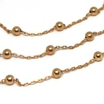18K ROSE GOLD BALLS CHAIN 2 MM, 31.5 INCHES LONG, SPHERE ALTERNATE OVAL ROLO image 2