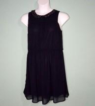 Ann Taylor Loft Women Dress Navy Beaded  Collar Size 10 - $16.82
