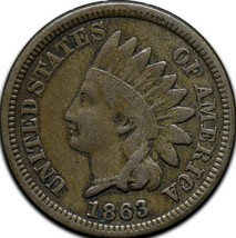 1863 Indian Head Cent Penny Coin Lot# A 420 image 1