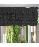 Chiffon DARK GREY Ruffle Layered Window Valance any size - $29.99+