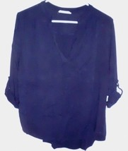 ENTRO High Low Shirt Top Sz Large Women's Blue Loop-Roll Sleeves - $9.89