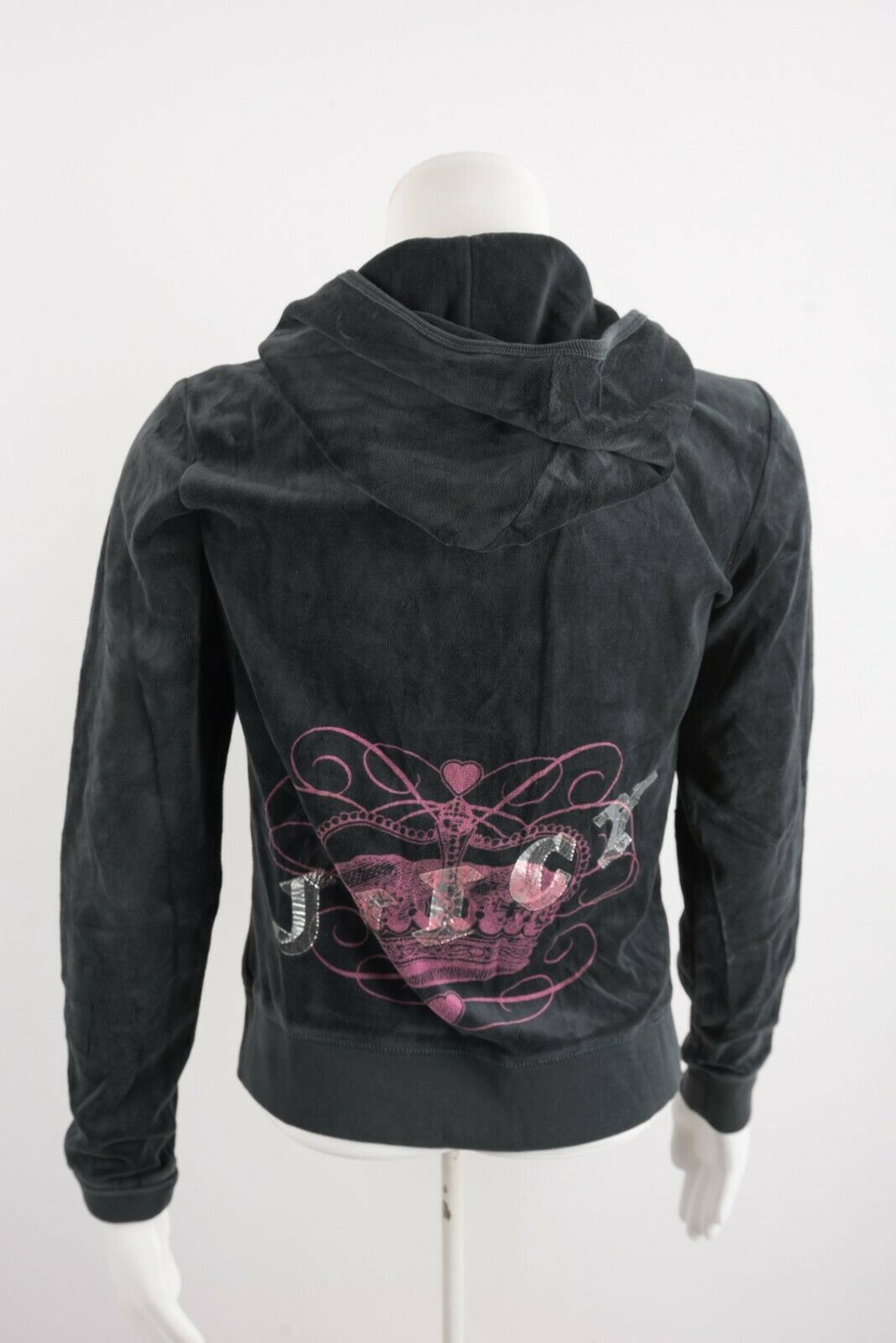 Primary image for Juicy Couture Girls Hoodie Large Gray Crown Logo spellout Hooded Zip Up Velour