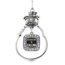 Inspired Silver Adventure Is Calling Classic Snowman Holiday Ornament - $14.69