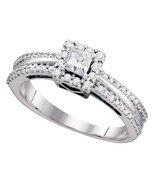 14k White Gold Princess Diamond Princess Bridal Wedding Engagement Ring ... - $733.87