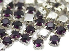 6mm SS30 Amethyst Sew on Crystal Diamante Rhinestone Rose Montee Beads f... - $11.87