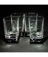 4 (Four) VTG DI SARONNO CLEAR & BLACK Square Foot Cocktail Glasses-No Text - $37.04
