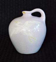 Antique Weller Art Pottery Signed Jap Birdimal Rare Pink Jug With Crane ... - $232.47