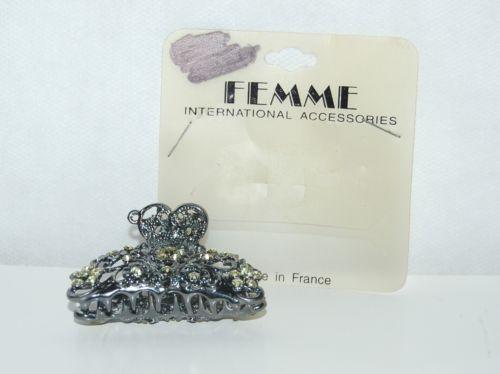 Femme International Dark Silver Color Yellow Rhinestone Butterfly Hair Claw Clip