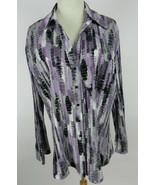 Apt. 9 Womans 2X Blouse LS Purple White Black Stripes Button Down Front Career - $39.59