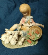 Lenwile Ardalt Girl Feeding Rabbits Figurine Hand Painted Made in Japan - $14.97