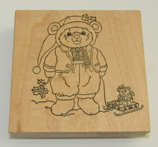 Teddy Bear Rubber Stamp Sled Sleigh Holly Leaves Christmas Stamps Happen RARE  - $12.86