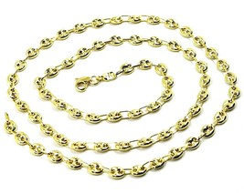 9K YELLOW GOLD NAUTICAL MARINER CHAIN OVALS 4 MM THICKNESS, 20 INCHES, 50 CM image 2