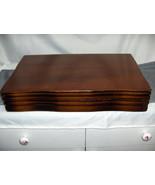 Vintage Walnut Finish Wood Flatware Storage Box Silver Gray Lined Tongue... - $74.25