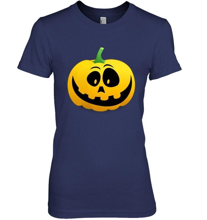 Funny Pumpkin Smiling Face Halloween Tshirt Adults