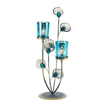 "Peacock Plume Table Candle Holder Blue Iron Glass Gallery 14"" NIB SL 100... - $22.46"