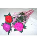12 LIGHT UP CHANGE COLOR FLOWER ROSES novelty battery operated fake rose... - $18.95