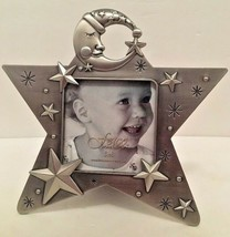 """FETCO Celestial Star Standing Picture Frame Silver Stars Moon 3"""" x 3"""" pi... - £6.02 GBP"""