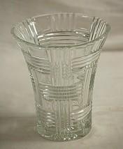 Anchor Hocking Clear Basket Weave Glass Vase Prismatic Criss Cross Vinta... - $42.56