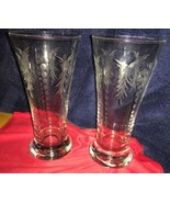 Vtg Etched Clear Drinking Glasses 6 1/2 Inches Tall - $14.01