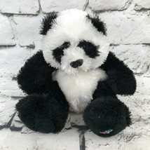 Webkinz Ganz Panda Plush Black White Shaggy Sitting Stuffed Animal Soft Toy - $7.91