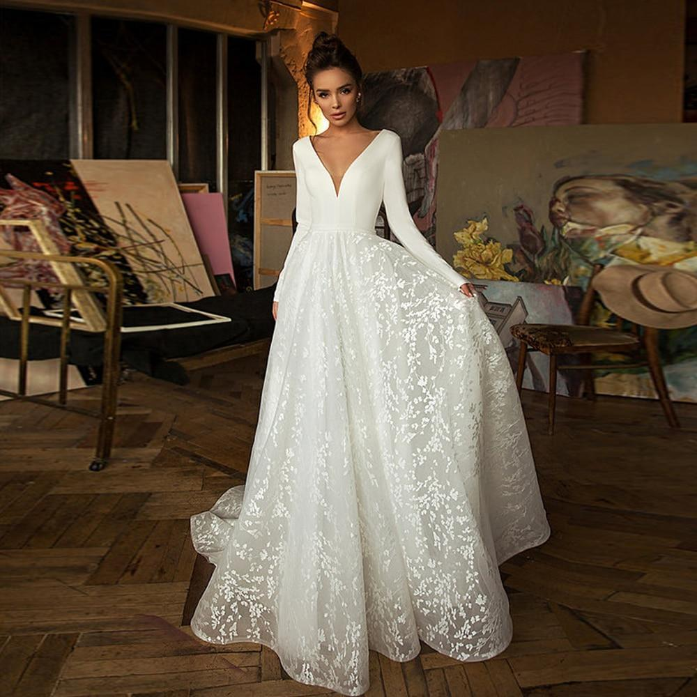 Ooma lace wedding dresses 2020 long sleeve v neck boho bridal gowns satin backless white vestido