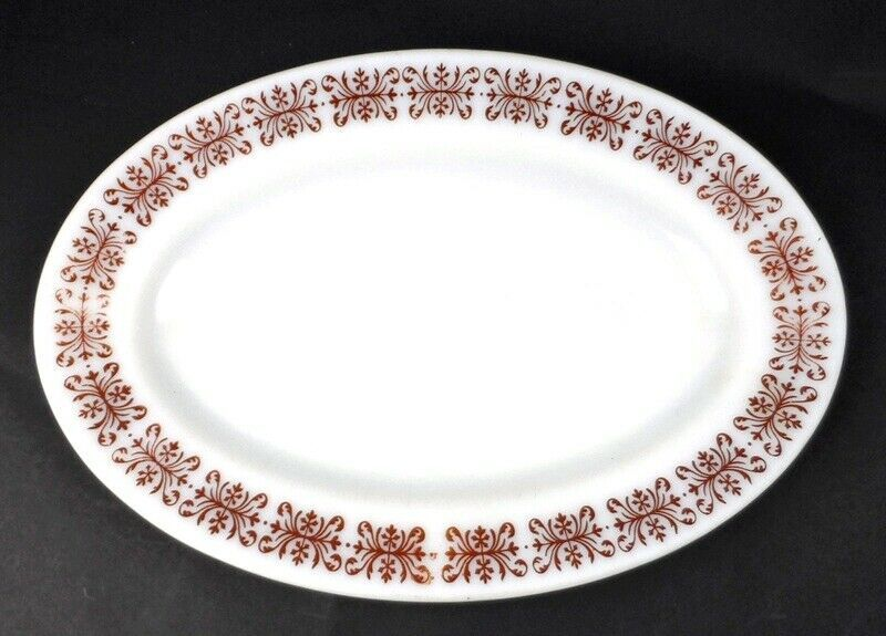 Primary image for Anchor Hocking Anchorware 11.5 x 8 in Diner Plate #941 Milk Glass with Red Trim