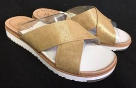 Ugg Australia Kari Metallic Silver Leather Imprint Slide Sandals Womens Sz 7.5 - $69.99