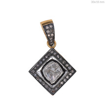 925 Sterling Silver 0.58 Ct Rose Cut Diamond Pave Square Shape Pendant J... - $142.27