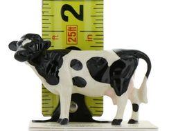 Hagen Renaker Miniature Holstein Bull, Cow and Calf Ceramic 3 Piece Figurine Set image 3