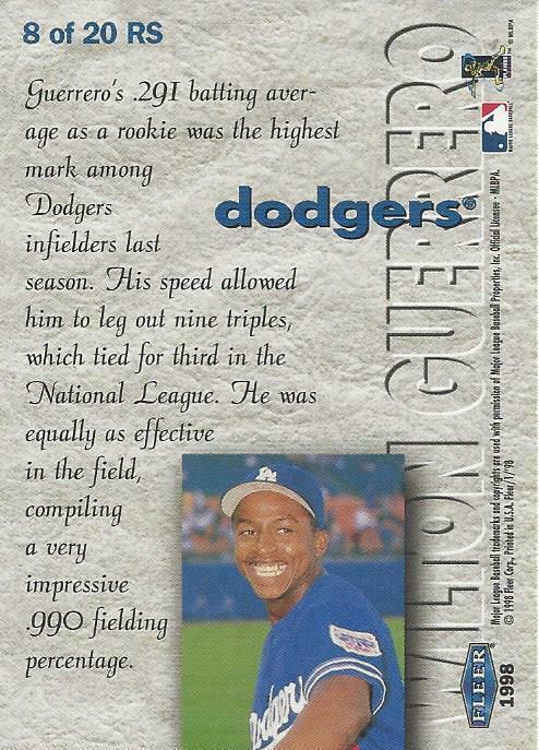 1998 Fleer Tradition Rookie Sensations Wilton Guerrero 8 Dodgers