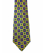 J Crew Tie 100% Silk Geometric Floral Multi Color Made In Canada - $9.89
