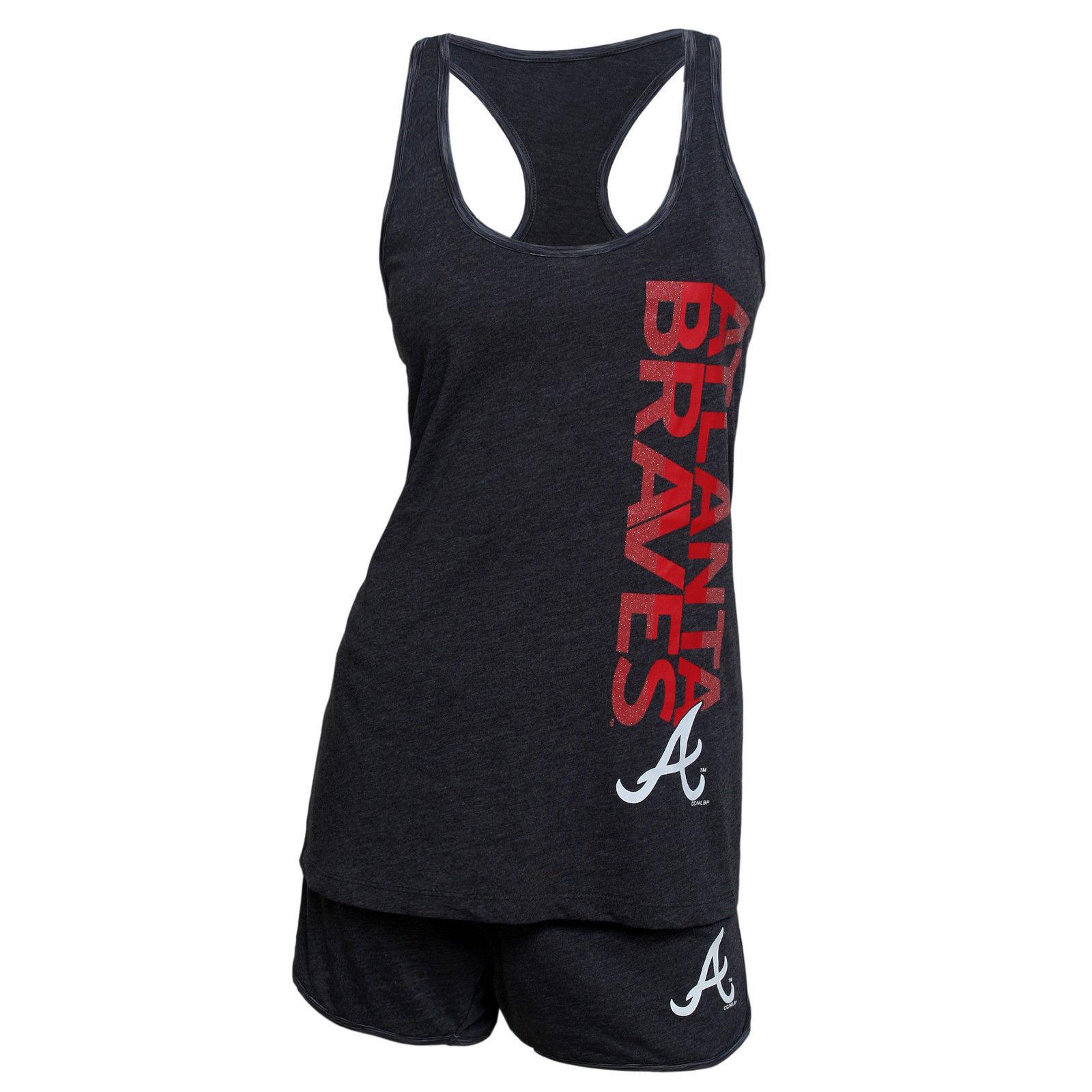 Ladies Atlanta Braves Latitude Tank & Shorts Set MLB Sleepwear Shirt Women's