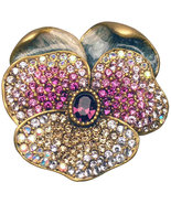 Jay Strongwater RETIRED Suzette Pave Pansy Pin Brooch Pendant - $182.24