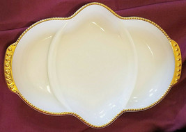 Vtg Anchor Hocking 50th Anniv. Swirl Milk Glass 3 part Relish Tray, circ... - $15.75