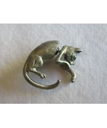 Vintage FABLE Signed CAT Brooch / Pin or Single Earring in Pewter 1 Paw out - $12.34