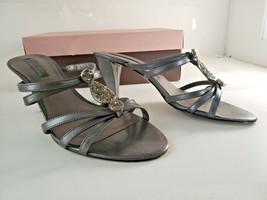 Macy's BANDOLINO Quitarah Pewter designer Heels Sandals Open Toe Shoes Women 7M - $29.99