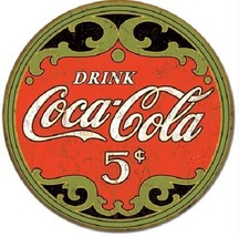 Coca Cola Coke Round 5 Cents Logo Advertising Vintage Retro Style Metal ... - $14.99