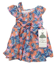 RARE EDITIONS NEW INFANT GIRLS 2PC PEACH OFF THE SHOULDER FLORAL DRESS 6-9M - $14.84