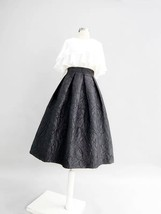 Women Black A-line Midi Skirt Outfit Plus Size High Waist Party Skirt  image 3
