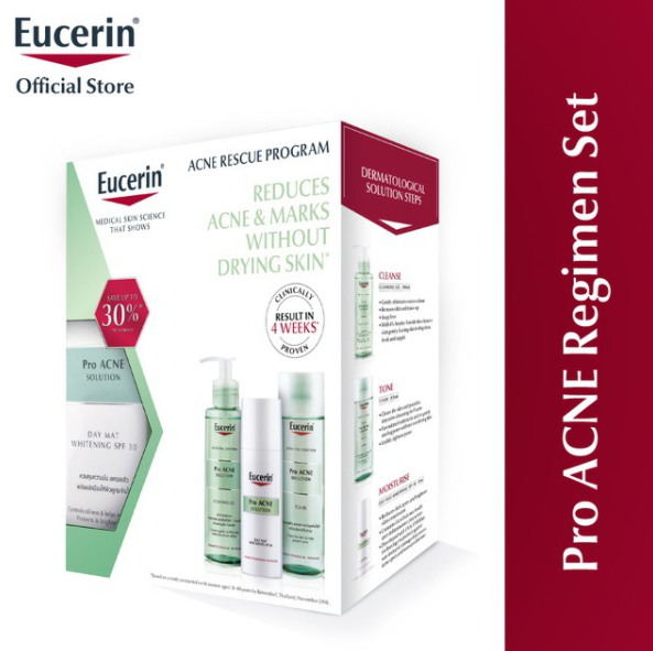 5 BOX Eucerin ProAcne Regimen Set (Toner + Day mat whitening + Cleansing gel) - $350.90