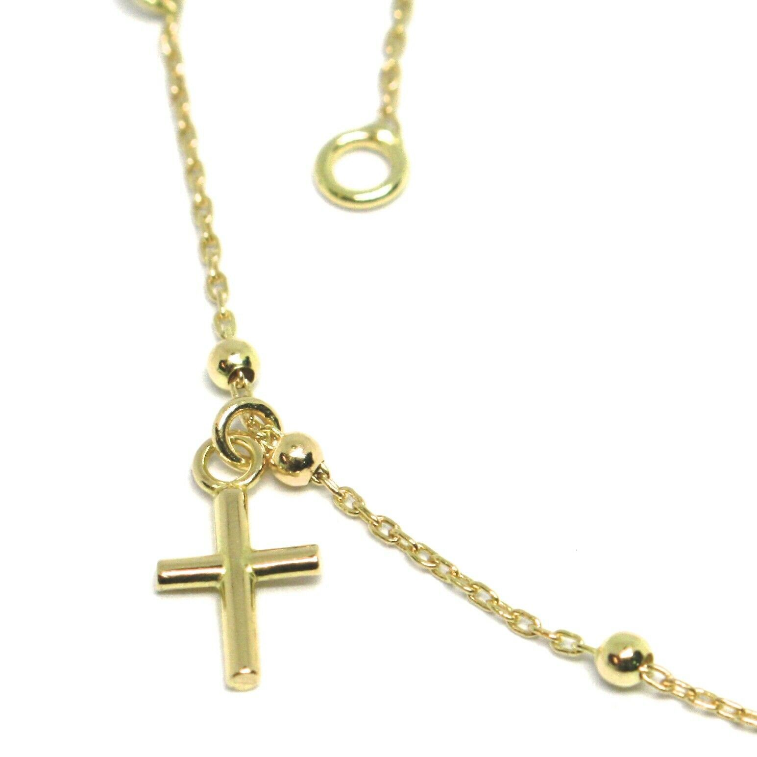 Mini Gold Bracelet Yellow or White or Pink 750 18k, Rosary with Cross, 18 cm